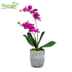 Real touch latex artificial purple orchid potted plant